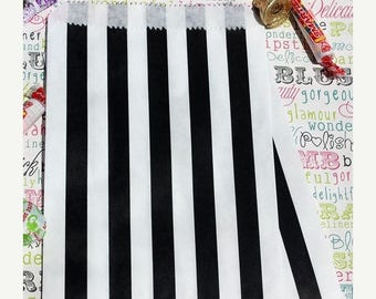 GLAM SALE Black and White Stripe Wedding Favor Bags, Black and White Stripe Candy Bags,  Cookie Bags, Popcorn Bags, Graduation Favor Bags -