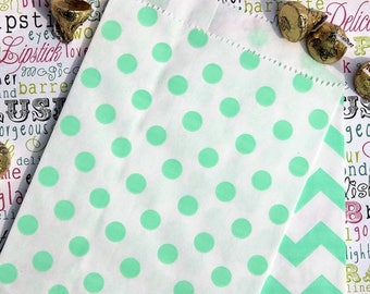 GLAMSALE Mint Polka Dot Favor Bags, Candy Bags, Popcorn Bags, Wedding Favor Bags (100 count)