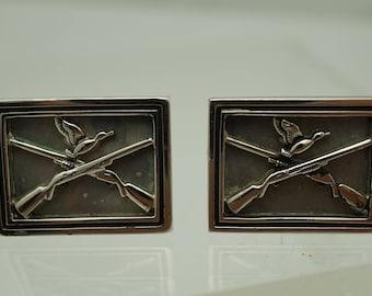 Vintage Swank Hunting Cufflinks Crossed guns Duck .