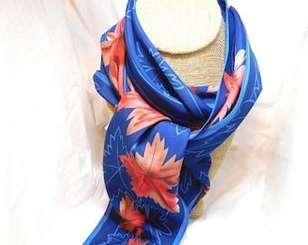 SALE VERA Scarf Royal blue with Orange Vintage Designer Fashion Narrow Beauty!