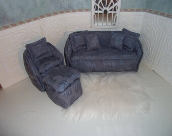 1:6th scale Barbie Dollhouse Handcrafted Sofa Chair Ottoman BARBIE BLYTHE Living Room Bedroom Blue textured  Carpet