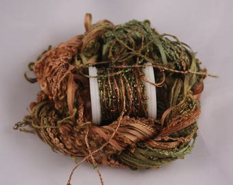 Moss green forest Brown beaded yarn Silk Embroidery quilting sewing thread weaving supply seed beads embellishment Hand dyed silk ribbon