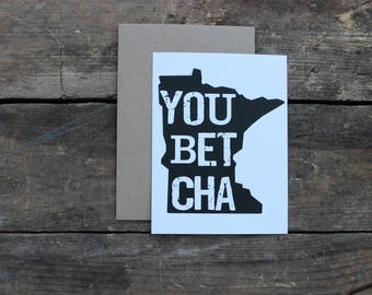 Minnesota Home You Betcha State Thank You Greeting Cards with Envelopes / Wedding / Shower / Engagement / Set of 10