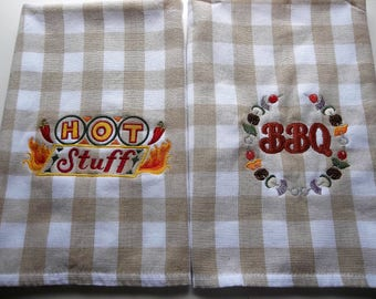 SET Pair Embroidered Towels, Hot Stuff BBQ Chili Peppers Chile, Kitchen Hand Towels,  Set towels, embroidered, Cooking, Baking, towels