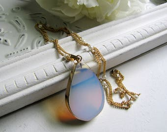 Opalite Necklace Long Layering Necklace Long Gold Necklace Boho Jewelry Pearl Necklace 1920s Jewelry Opalite Necklace Opalite  Jewelry