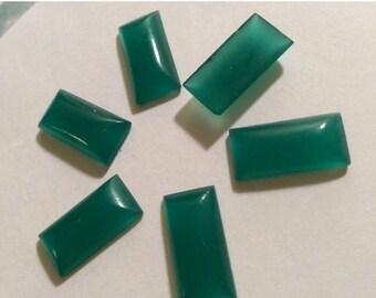 SPECIAL Vintage Chrysoprase Cabochon Top Glass Baguette Japan 14x7mm QTY - 6