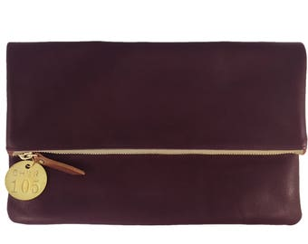 READY TO SHIP: Large Foldover Leather Clutch (multiple colors)
