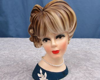 Napcoware Girl/Lady Head Vase  - pearl accents - 1940s