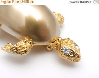 Sale 20% Off Adorable Marvella Signed Turtle Brooch 1950s Goldtone Large Baroque Body