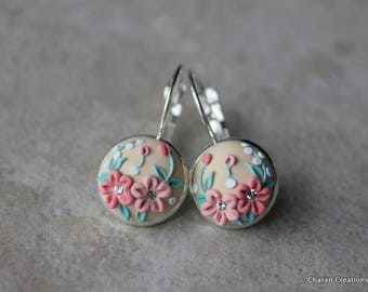 Gorgeous Polymer Clay Applique Statement Earrings in Peach and Beige