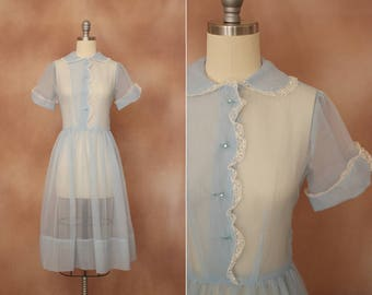 vintage 1950's pale blue sheer lace trim dream dress / size s