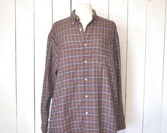 34% Off Sale - Eddie Bauer Cotton Plaid Flannel 1980s Vintage Purple Button Up Shirt Large XL