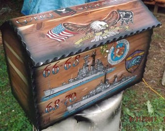 custom ordered red cedar chest with any military