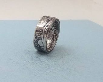 Unique Gift, Silver coin ring walking liberty half dollar 90% fine silver jewelry year 1941 size 11.  Free Shipping
