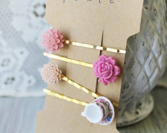 Teacup Bobby Pin Set - Bobby Pin Set of 4 - Pink Bobby Pins - Teacup Hair Accessory - Flower Bobby Pins - Floral Bobby Pins- Teacup Hair Pin