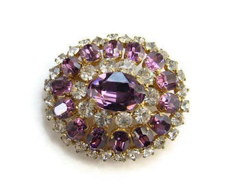 Vintage Amethyst and Clear Rhinestone Goldtone Brooch Pin Very Regal