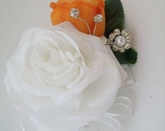 Orange and White Corsages - Orange Corsages - Corsages with Bling - Wrist Corsages - Corsage Sets - Orange and White Wedding Flowers