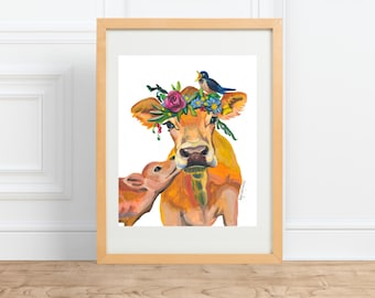 Mamma Cow and Her Calf, animal portrait, watercolor print by Abigail Gray Swartz