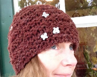 Wool Hat Hand Knit with Butterflies