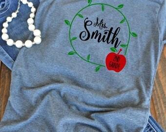 Teacher shirt - Back to school - Teacher name - teacher gift - woman's graphic t-shirt
