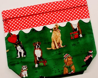 Big Bottom Fur Babies Christmas Cross Stitch, Embroidery Project Bag