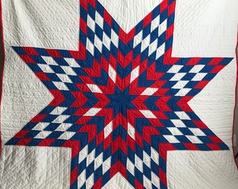 "Lone Star Vintage Quilt Red Blue 84"" X 82"" Hand Quilted"