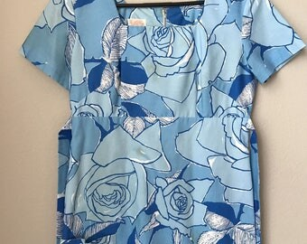 Vintage Lilly Pulitzer, Lilly Pulitzer Dress, Vtg Neiman Marcus, Neiman Marcus Dress, Vtg Blue Dress, Floral Dress