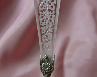 "Antique Vintage Stick Pin or Hatpin Etched Glass with Silver Base 3 3/4"" Pretty"