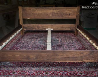 WALNUT Simple Platform Bed Frame with Straight Headboard, Custom Made of Solid Walnut Hardwoods, Twin, Full, Queen, King or California King
