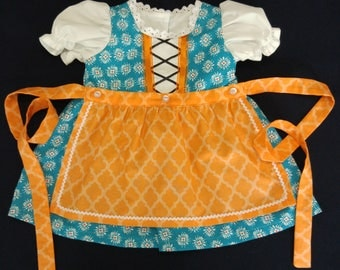 Turquoise and Orange Baby Dirndl