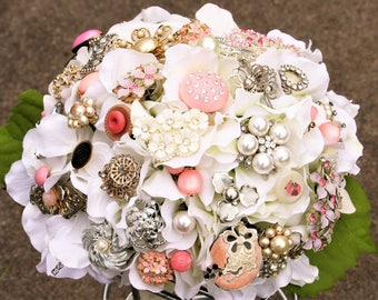 Blush Pink Wedding Bouquet, Silver Pearl Brooch Bouquet, Deposit only