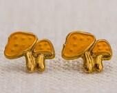Mushroom Tiny Vintage Earrings Orange & Gold Pierced Earring | Boho Minimalist Jewelry | Dainty Earings | Studs 7TU