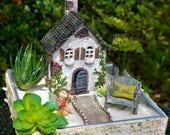 Fairy Garden Kit ~ Starter Set ~ English Cottage ~ Chair + Pillow Choice ~ Walkway ~ Use in Flower Garden or Planter ~ Fairy+Planter Option