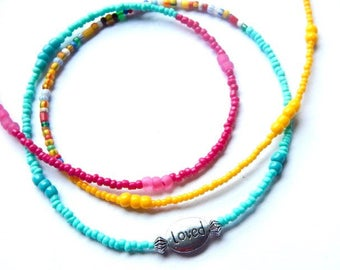 Waist Beads, Sunrise LOVED African Waistbeads, Multicolored Waist Beads, Bright Belly Chain, Turquoise Waist Chain