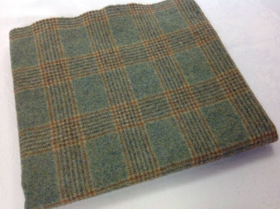 Fat 1/4 Yard, Prairie Grass Plaid, Mill Dyed Wool Fabric for Rug Hooking and Appliqué, W378, Meadow Green, Soft Blue Green
