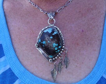 R72--Ithaca Peak Arizona Turquoise Pendant with Hand made chain
