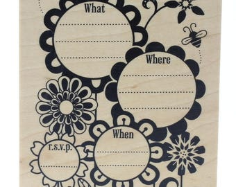 Inkadinkado You're Invited Where When Flower Whimsical Party Wooden Rubber Stamp