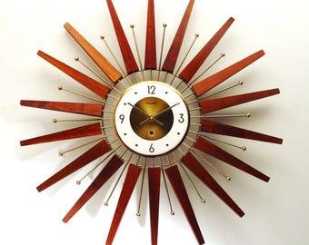 Starburst Clock by Forestville, Mid Century Modern, expertly refurbished, 1960s Atomic Era Sunburst Clock