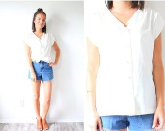 40% OFF CHRISTMAS in JULY Vintage boho white blouse // modest summer lace collar cream top // white blouse top // ivory blouse // fancy top