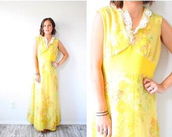 40% OFF CHRISTMAS in JULY Vintage navajo yellow maxi dress // summer floral dress // boho dress // floral floor length summer spring dress /