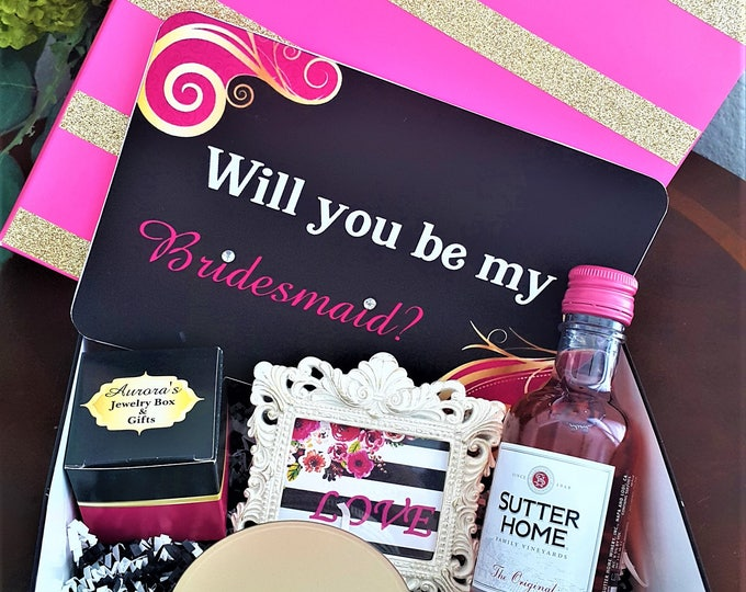 Featured listing image: Bridesmaids Gift Box-Will you be my bridesmaid gift box-Maid of Honor Gift Box-Bridesmaids Proposal Box-Wedding Gift Set-Thank you gift box
