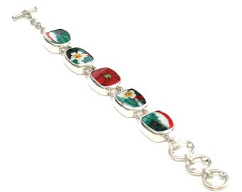 Broken China Jewelry Christmas Poinsettia Flower C Sterling Bracelet