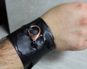 Men's Black Leather Wrap Cuff Bracelet with Copper Clasp
