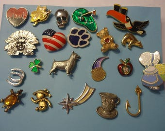 Lot of Mixed Vintage Tac Pins, 21 Pieces, Various Themes, Gold Tone, Silver Tone, Enamel