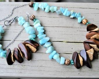 AMAZONITE Necklace Bracelet Set Wood Slab Focal Beads with Amazonite Stone Beads