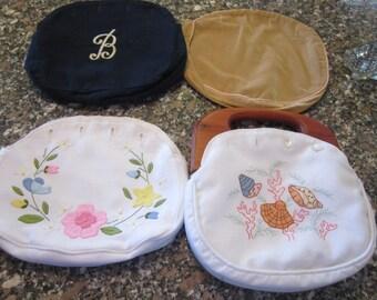 smiths of bermuda purse wood handle four covers applique wool velvet sea shells