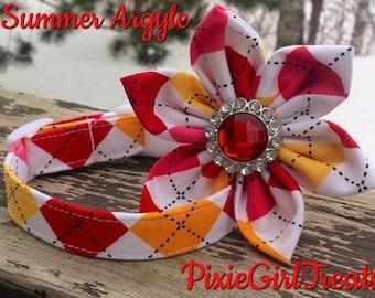 LAST ONE! Red Dog Collar, Argyle Dog Collar, Pink Dog Collar, Orange Dog Collar, Summer Dog Collar, Dog Collar for Girl, Dog Collar