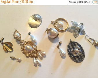 SUMMER SALE Stunning Lot of Vintage Salvaged  Pearl  Jewelry Pieces Perfect For Bridal Assemblage