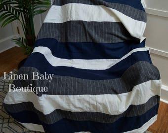 Navy Blue and Grey Pinsripe Flannel Blanket. Ivory Linen Stripe Blanket. Baby,Toddler or Throw Blanket. Gender Neutral. .