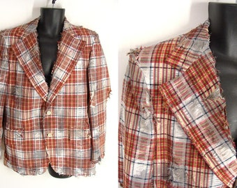 Zombie Jacket Costume. BLOOD OPTIONAL. 70s Plaid Sport Coat. The Walking Dead Costume. Vampire Costume. Post Apocalyptic. mens size 40 42 M